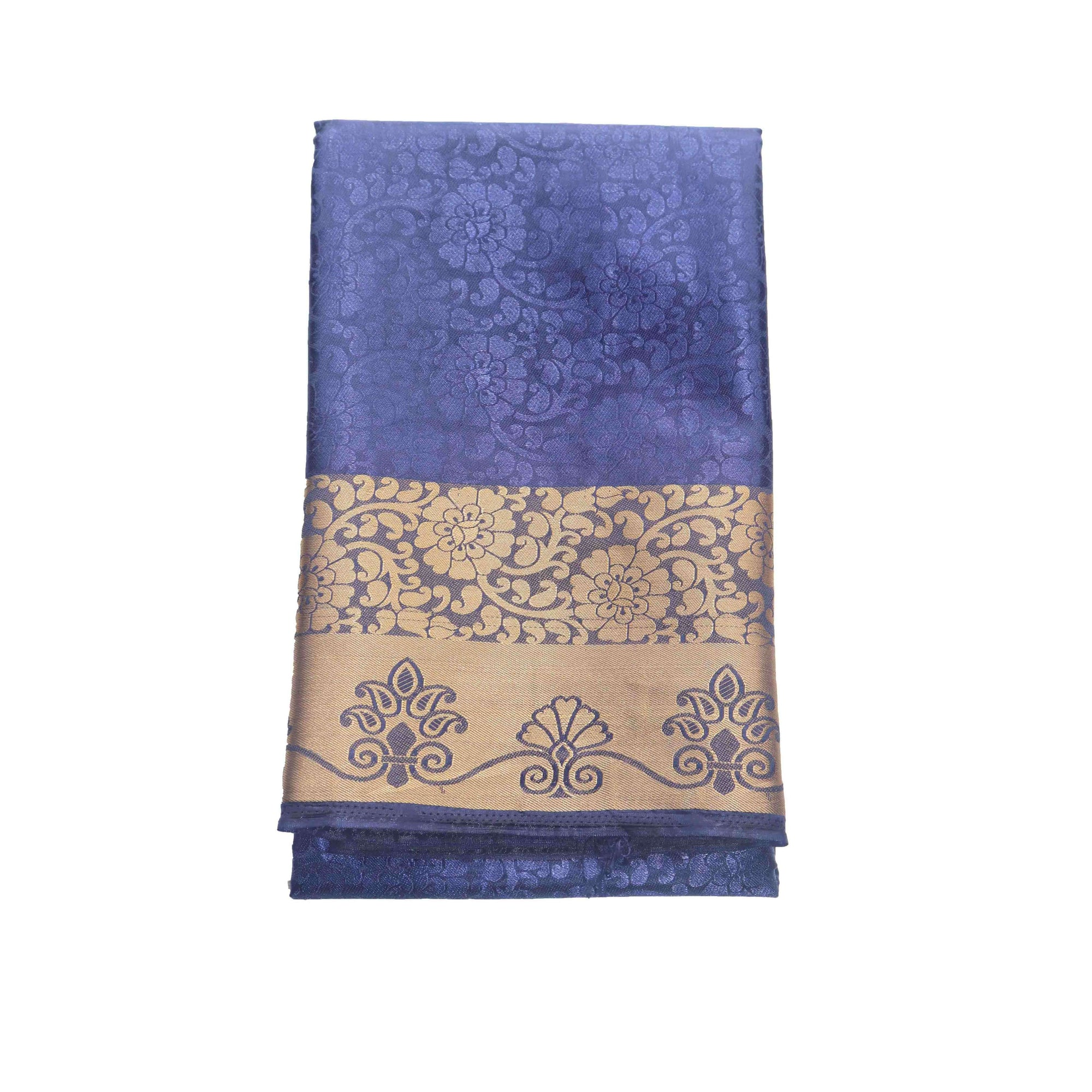 Arars Women's Kanchipuram Kanjivaram Pattu Style Balaton Embosed Plain Silk Saree With Blouse (456 NAVY )