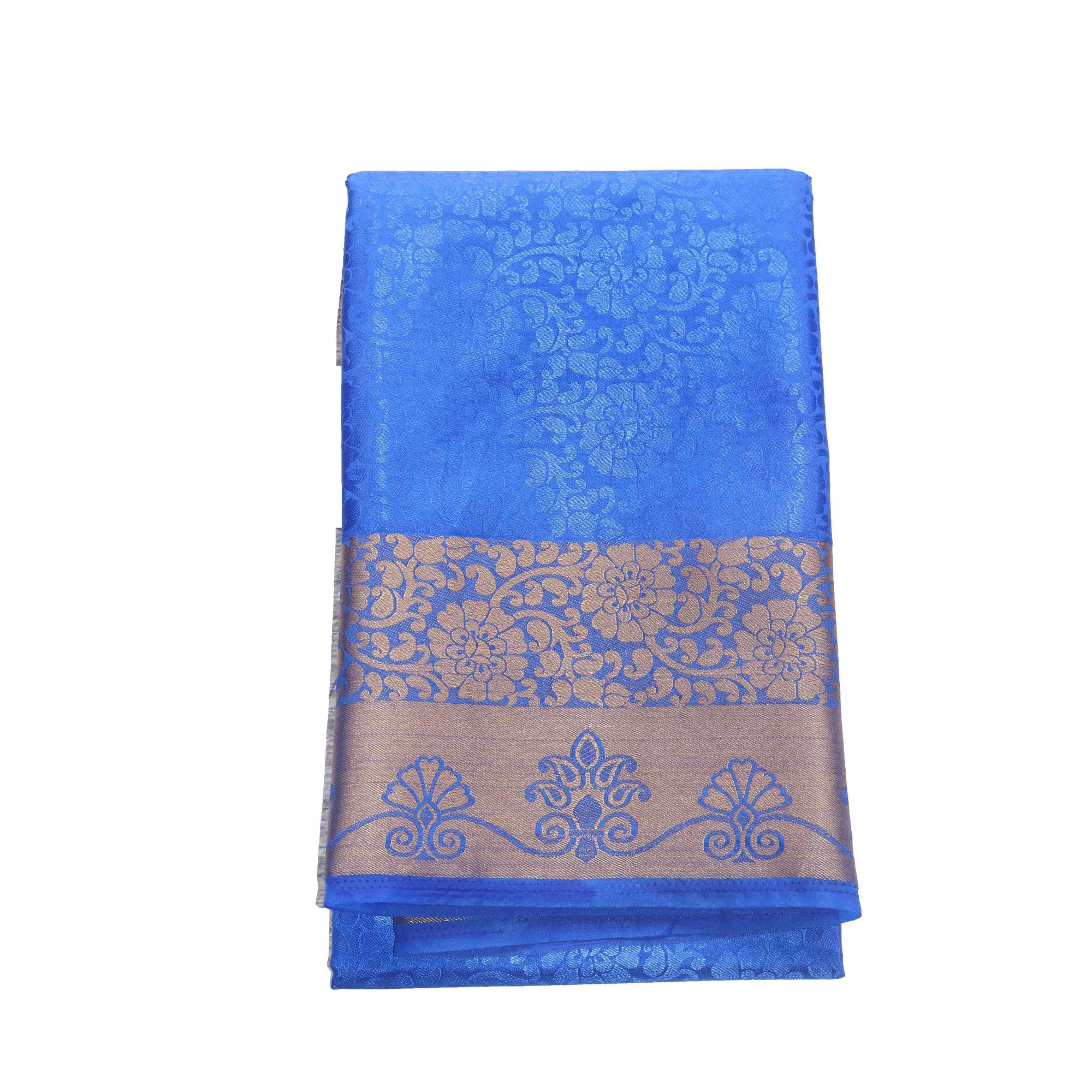 Arars Women's Kanchipuram Kanjivaram Pattu Style Balaton Embosed Plain Silk Saree With Blouse (456 ROYAL )