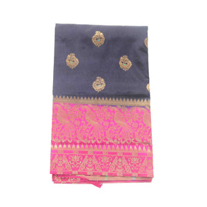 Arars Women's Kanchipuram Kanjivaram Pattu Style Paithani Silk Saree With Blouse (462 SAFAIR NAVY )