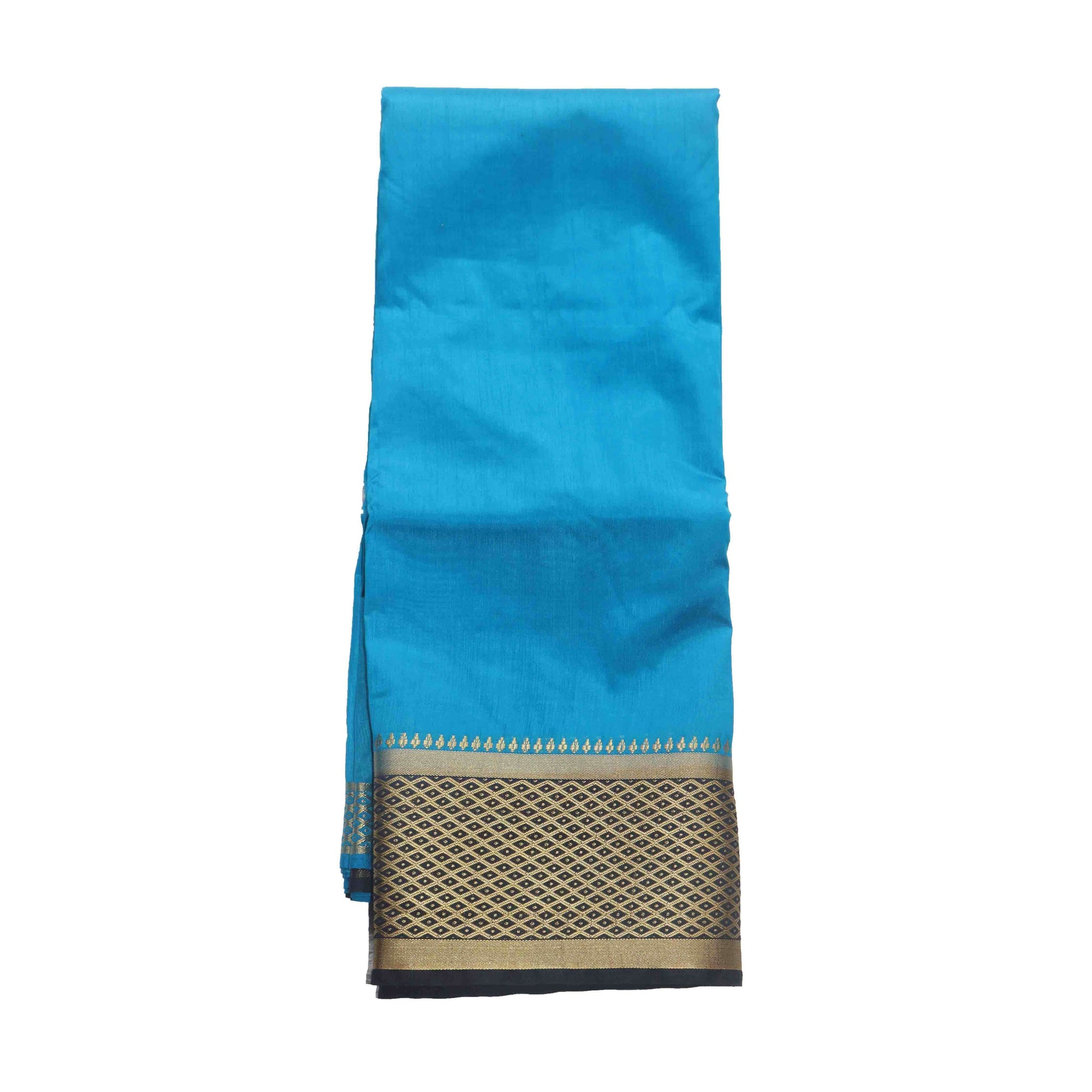 Arars Women's Kanchipuram Kanjivaram Pattu Style Raw Plain Silk Saree With Blouse (463 BLUE NAVY )