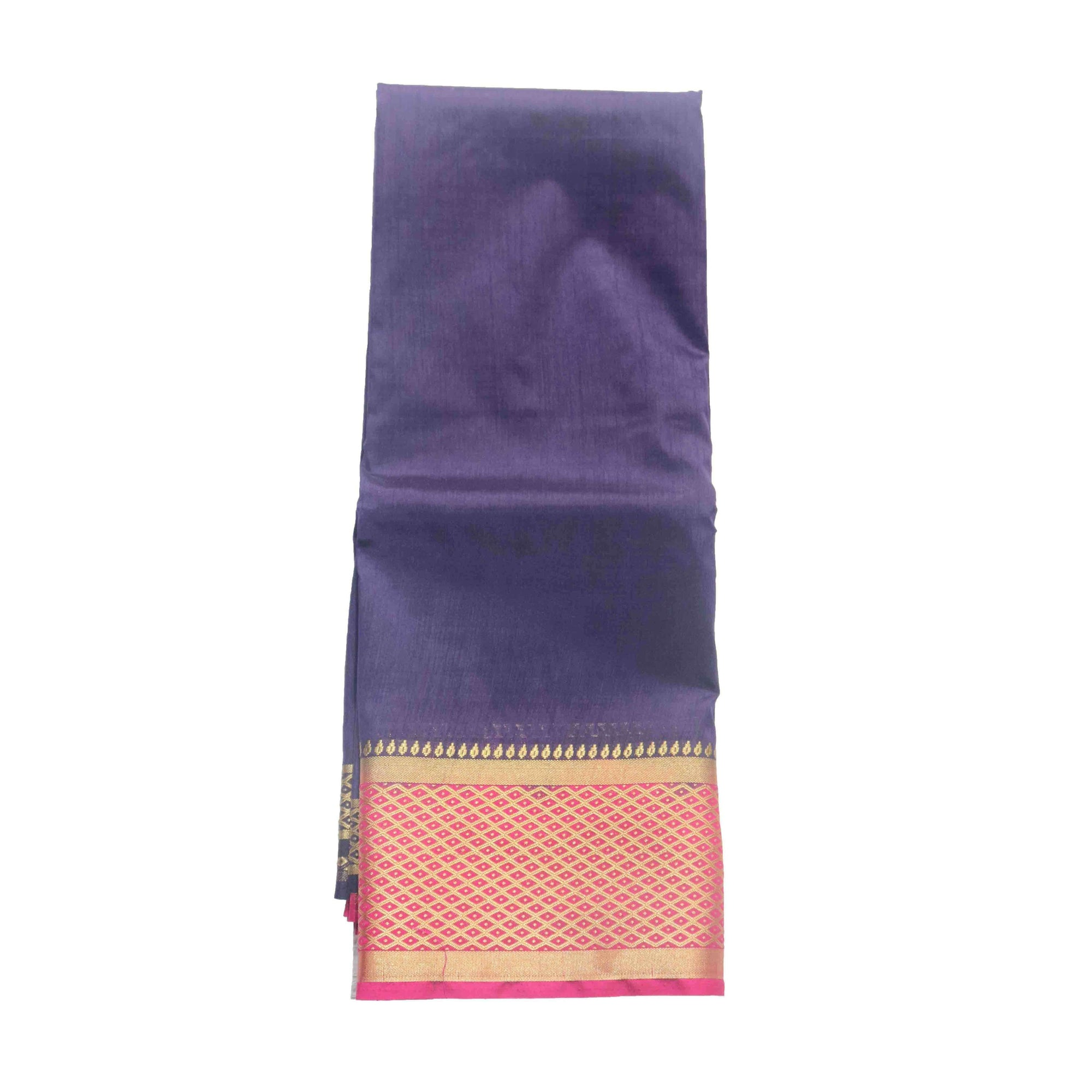 Arars Women's Kanchipuram Kanjivaram Pattu Style Raw Plain Silk Saree With Blouse (463 NAVY RANI )