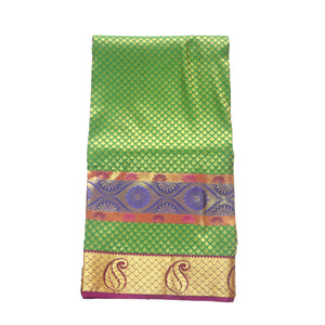 Arars Women's Kanchipuram Kanjivaram Pattu Style Art Brocade Silk Saree With Blouse (468 GREEN PURPLE )
