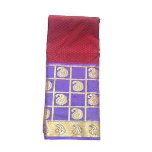 Arars Women's Kanchipuram Kanjivaram Pattu Style Art Embosed Plain Silk Saree With Blouse (470 RED ROYAL )