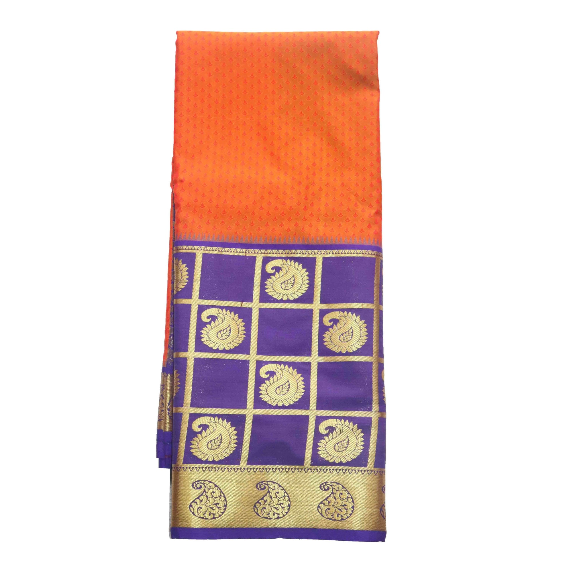 Arars Women's Kanchipuram Kanjivaram Pattu Style Art Embosed Plain Silk Saree With Blouse (470 ORANGE ROYAL )