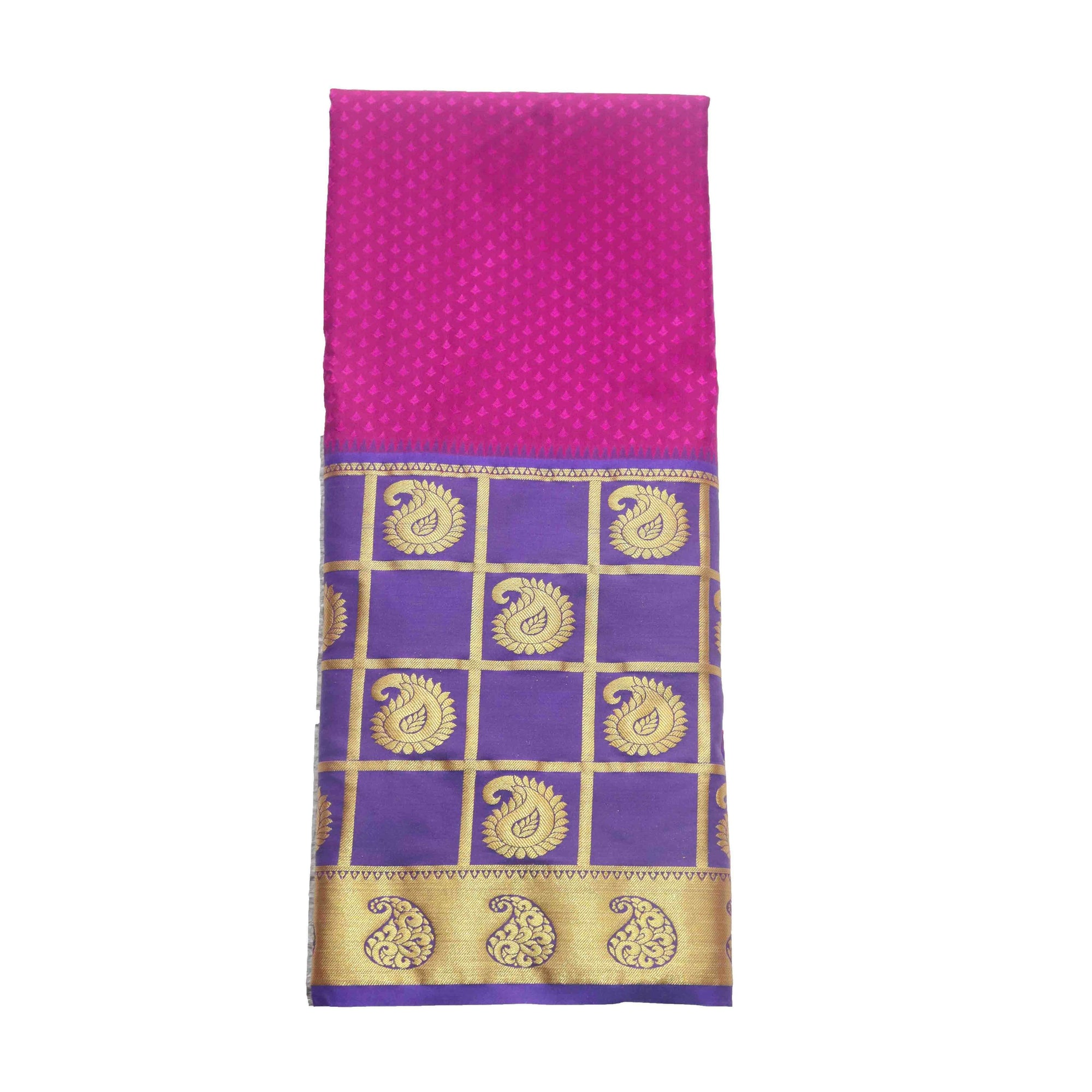 Arars Women's Kanchipuram Kanjivaram Pattu Style Art Embosed Plain Silk Saree With Blouse (470 PURPLE ROYAL )