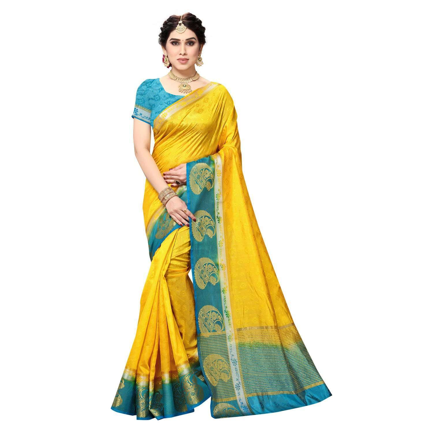 Arars Women's Kanchipuram Kanjivaram Pattu Style Kanjivaram Plain Silk Saree With Blouse (471 GOLD BLUE )