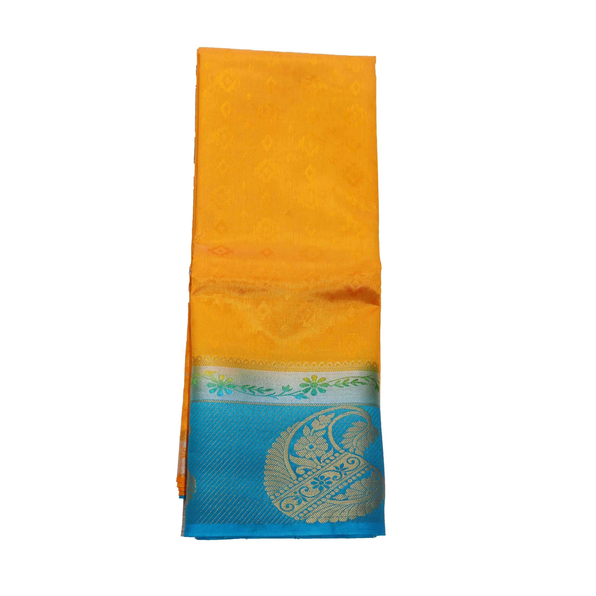 arars Women's kanchipuram kanjivaram pattu kanjivaram embosed plain silk saree with blouse (471, gold blue)