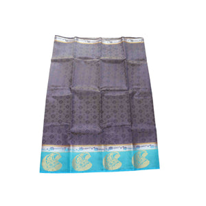 arars Women's kanchipuram kanjivaram pattu kanjivaram embosed plain silk saree with blouse (471, navy blue)