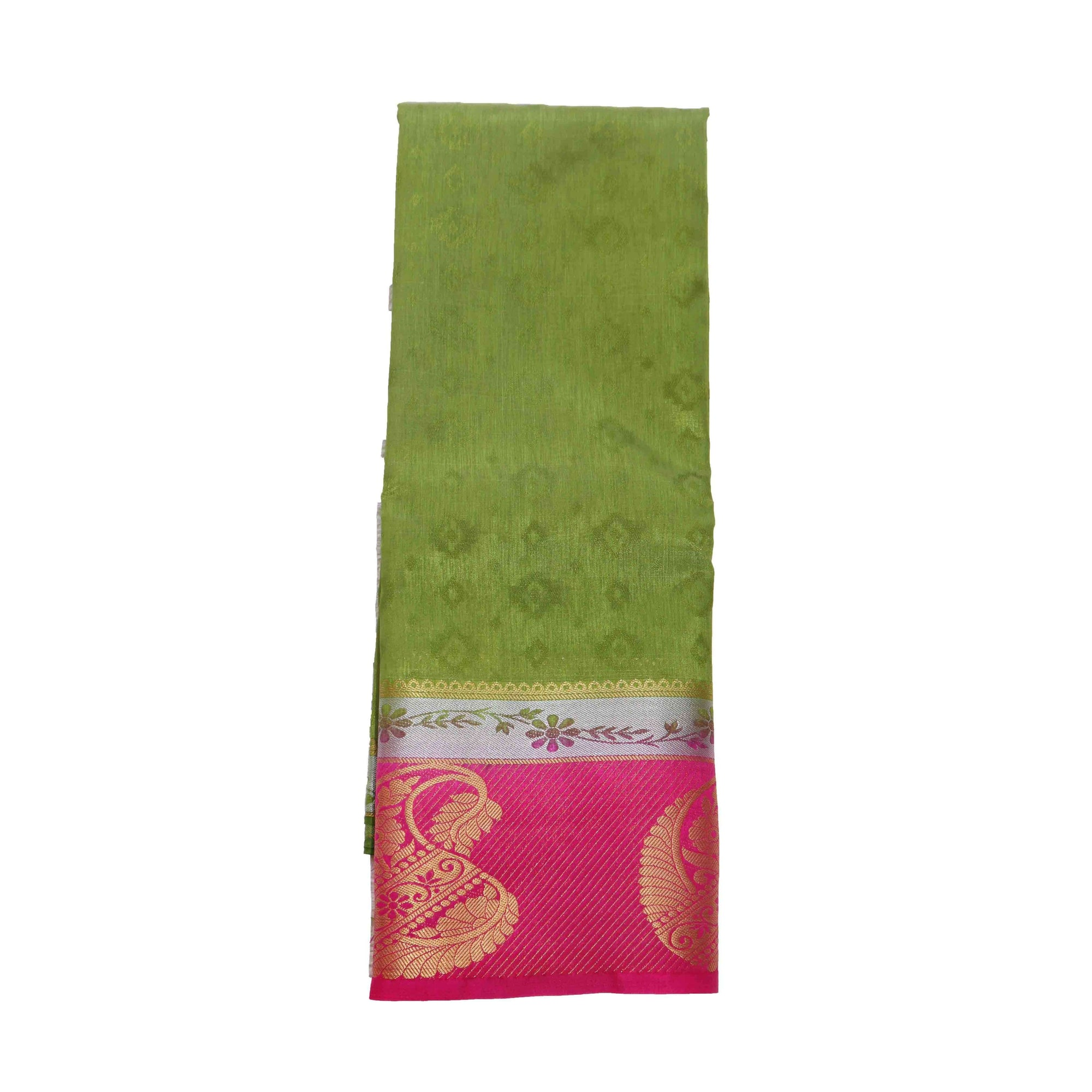 arars Women's kanchipuram kanjivaram pattu kanjivaram embosed plain silk saree with blouse (471, olive)