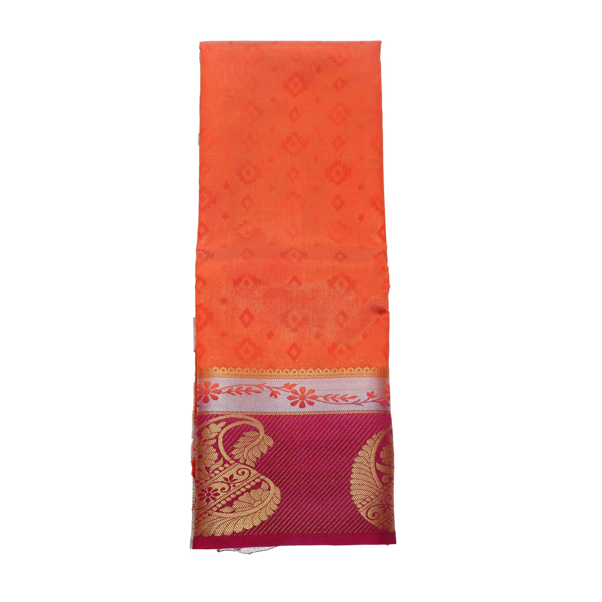arars Women's kanchipuram kanjivaram pattu kanjivaram embosed plain silk saree with blouse (471, orange)