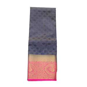 arars Women's kanchipuram kanjivaram pattu kanjivaram embosed plain silk saree with blouse (472, navy)