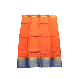 arars Women's kanchipuram kanjivaram pattu kanjivaram embosed plain silk saree with blouse (472, orange)