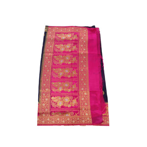 arars Women's kanchipuram kanjivaram pattu rapier butta paithani silk saree with blouse (474, navy blue)