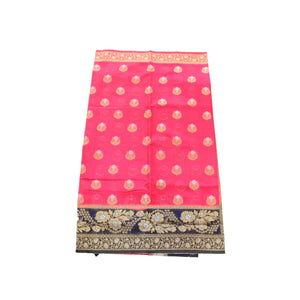arars Women's kanchipuram kanjivaram pattu rapier butta paithani silk saree with blouse (474, strawberry)