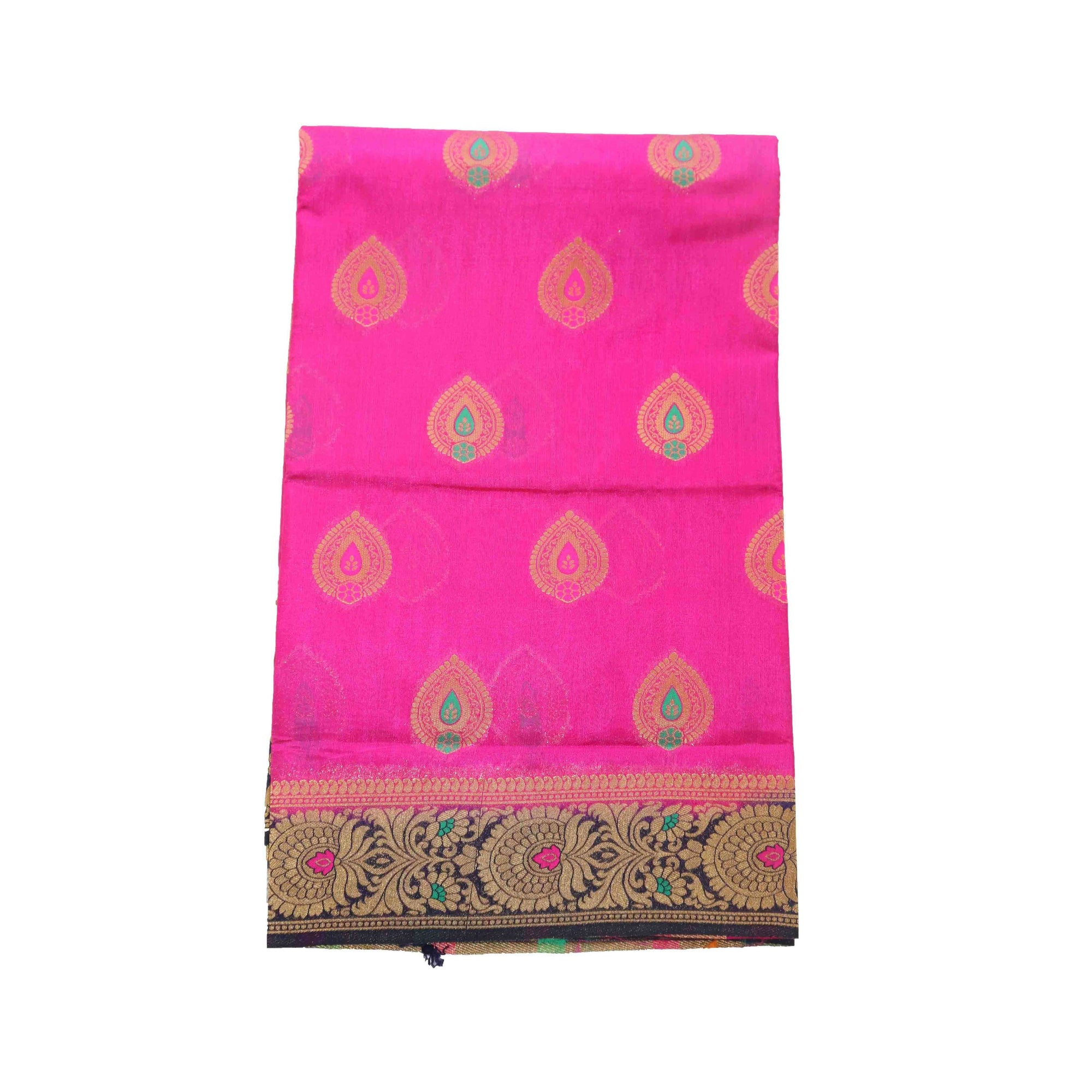 arars Women's kanchipuram kanjivaram pattu rapier butta paithani silk saree with blouse (475, rani)