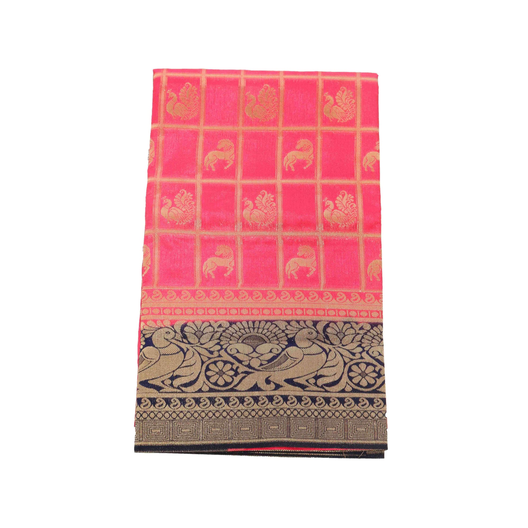 arars Women's kanchipuram kanjivaram pattu rapier butta silk saree with blouse (476, strawberry)
