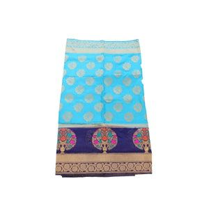 arars Women's kanchipuram kanjivaram pattu rapier butta paithani silk saree with blouse (477, blue)