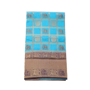 arars Women's kanchipuram kanjivaram pattu rapier butta paithani silk saree with blouse (478, blue)