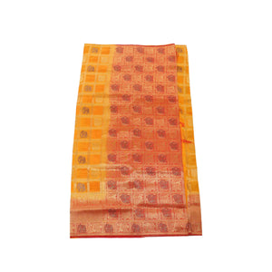 arars Women's kanchipuram kanjivaram pattu rapier butta paithani silk saree with blouse (478, mustard)