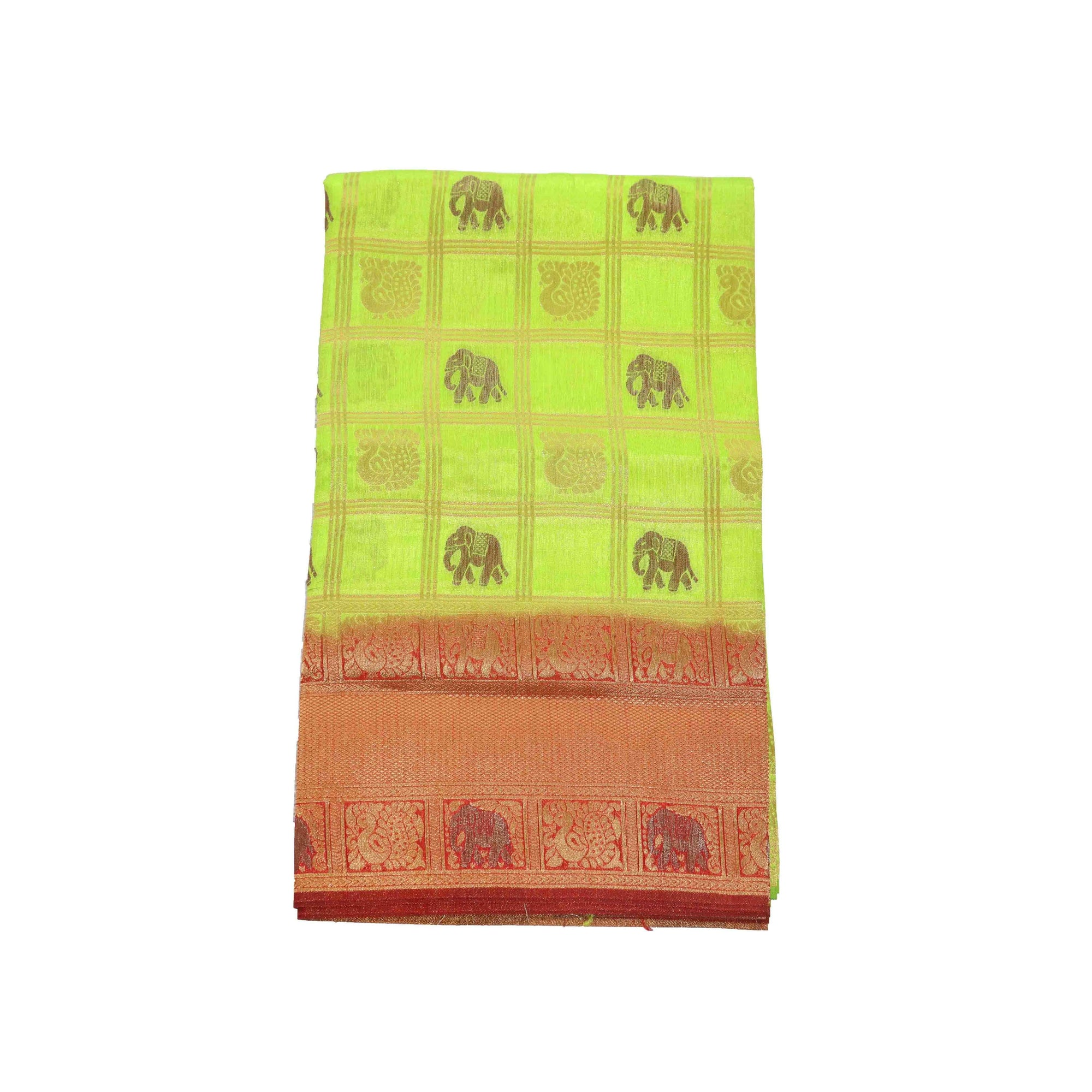 arars Women's kanchipuram kanjivaram pattu rapier butta paithani silk saree with blouse (478, parrot green)