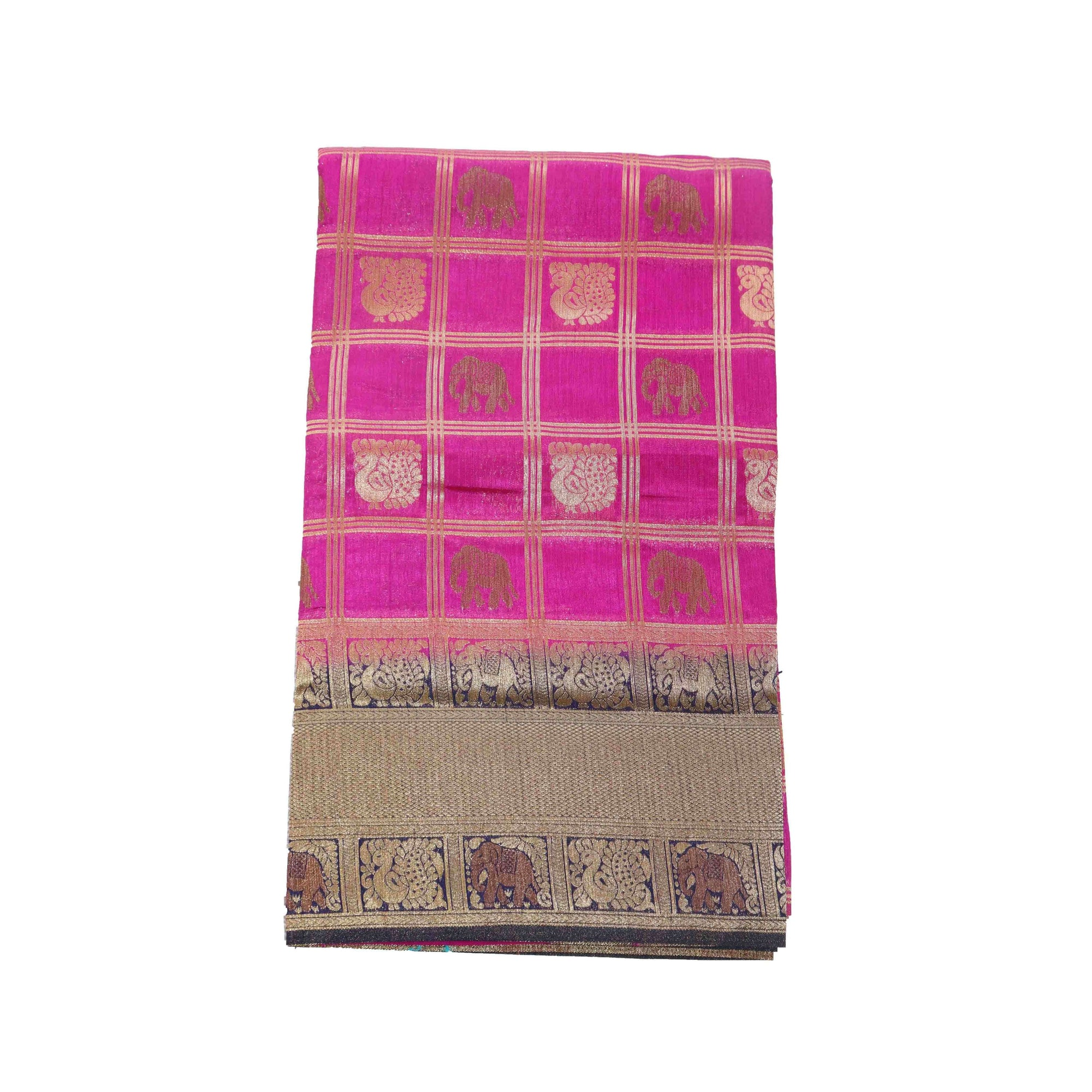 arars Women's kanchipuram kanjivaram pattu rapier butta paithani silk saree with blouse (478, purple)