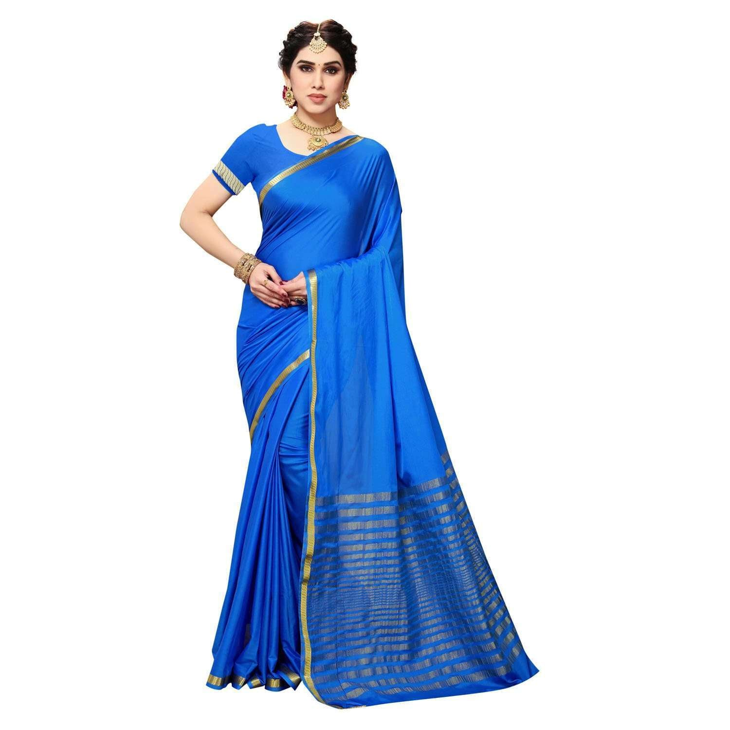Arars Women's Kanchipuram Kanjivaram Pattu Style Artificial Plain Silk Saree With Blouse (480 ROYAL )