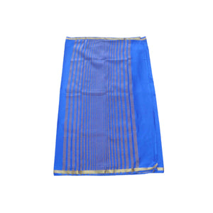 arars Women's kanchipuram kanjivaram pattu mysore crepe plain silk saree with blouse (480, royal blue)