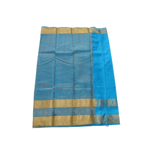 arars Women's kanchipuram kanjivaram pattu kanjivaram embosed plain silk saree with blouse (481, blue)
