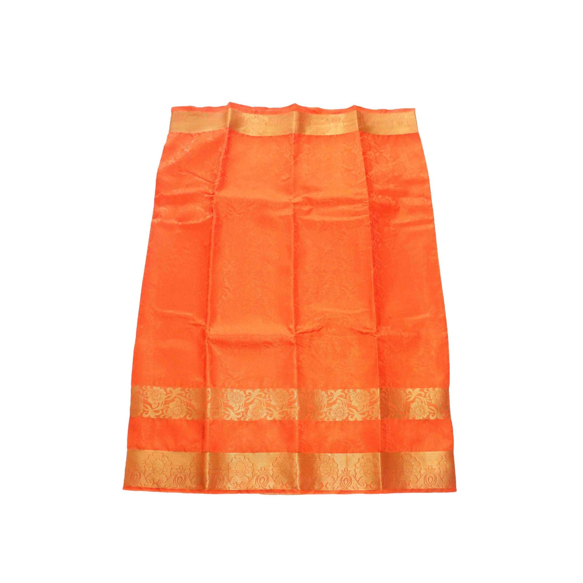 arars Women's kanchipuram kanjivaram pattu kanjivaram embosed plain silk saree with blouse (481, orange)