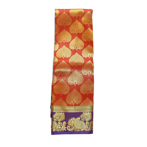 arars Women's kanchipuram kanjivaram pattu art butta silk saree with blouse (483, orange royal)