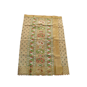 arars Women's kanchipuram kanjivaram pattu raw printed silk saree with blouse (484, cream)