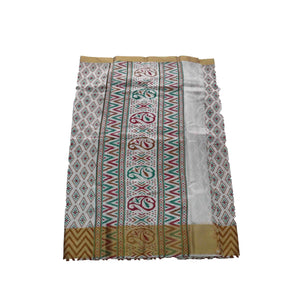 arars Women's kanchipuram kanjivaram pattu raw printed silk saree with blouse (484, white)