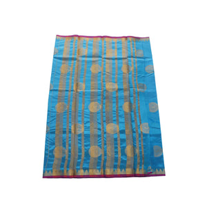 arars Women's kanchipuram kanjivaram pattu balaton butta  silk saree with blouse (485, blue)