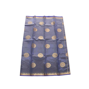 arars Women's kanchipuram kanjivaram pattu balaton butta  silk saree with blouse (485, navy)