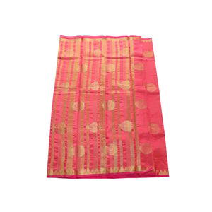 arars Women's kanchipuram kanjivaram pattu balaton butta  silk saree with blouse (485, strawberry)