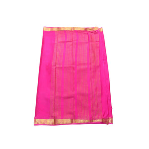 arars Women's kanchipuram kanjivaram pattu mysore crepe plain silk saree with blouse (490, rani)