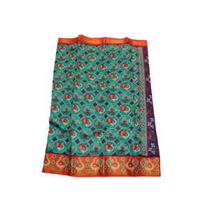 arars Women's kanchipuram kanjivaram pattu raw printed silk saree with blouse (493, sapphire)