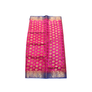 arars Women's kanchipuram kanjivaram pattu balaton butta  silk saree with blouse (494, strawberry)