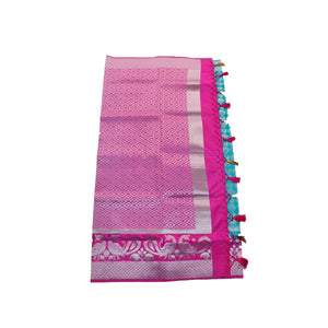arars Women's kanchipuram kanjivaram pattu rapier butta silk saree with blouse (496, sapphire)