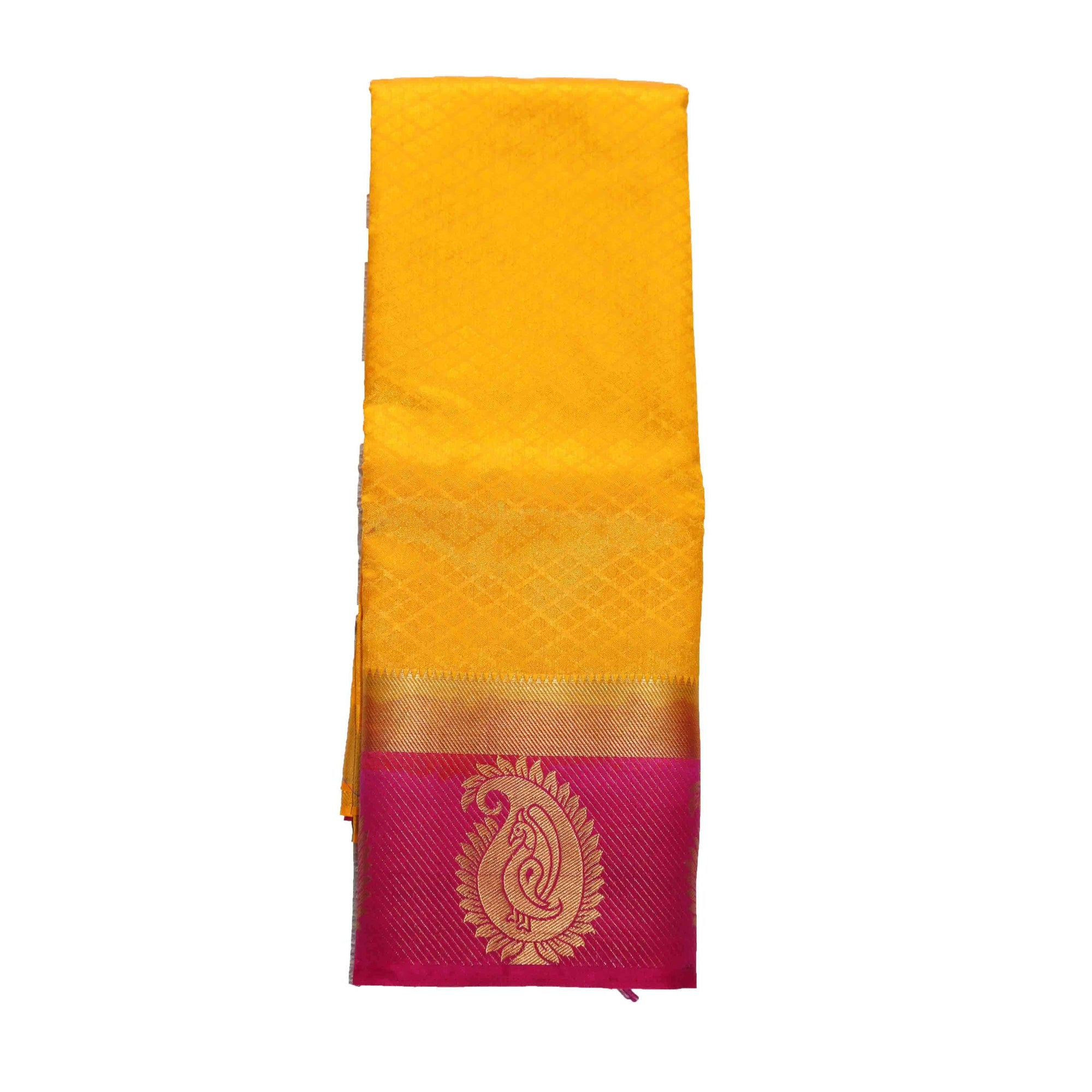 arars Women's kanchipuram kanjivaram pattu kanjivaram embosed plain silk saree with blouse (499, gold rani)