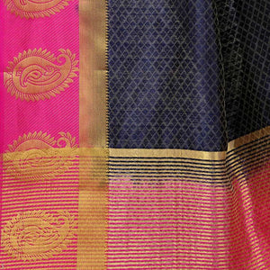 arars Women's Kanchipuram Pattu plain embosed Silk Saree With Blouse (499_navy&rani )