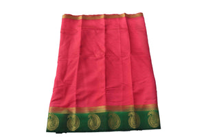 arars Women's Kanchipuram Pattu plain embosed Silk Saree With Blouse (499_strawberry_green )