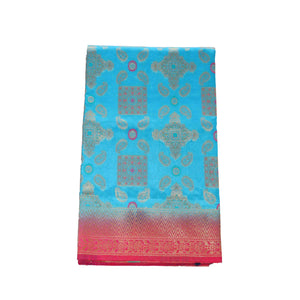 arars Women's kanchipuram kanjivaram pattu rapier butta paithani silk saree with blouse (500, blue rani)