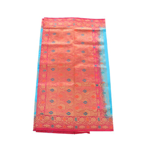 arars Women's kanchipuram kanjivaram pattu rapier butta paithani silk saree with blouse (501, blue rani)