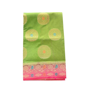arars Women's kanchipuram kanjivaram pattu rapier butta paithani silk saree with blouse (501, olive rani)