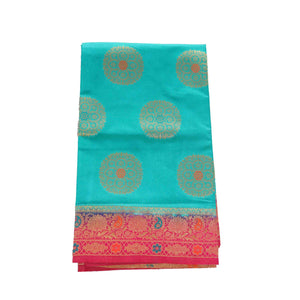 arars Women's kanchipuram kanjivaram pattu rapier butta paithani silk saree with blouse (501, sapphire rani)
