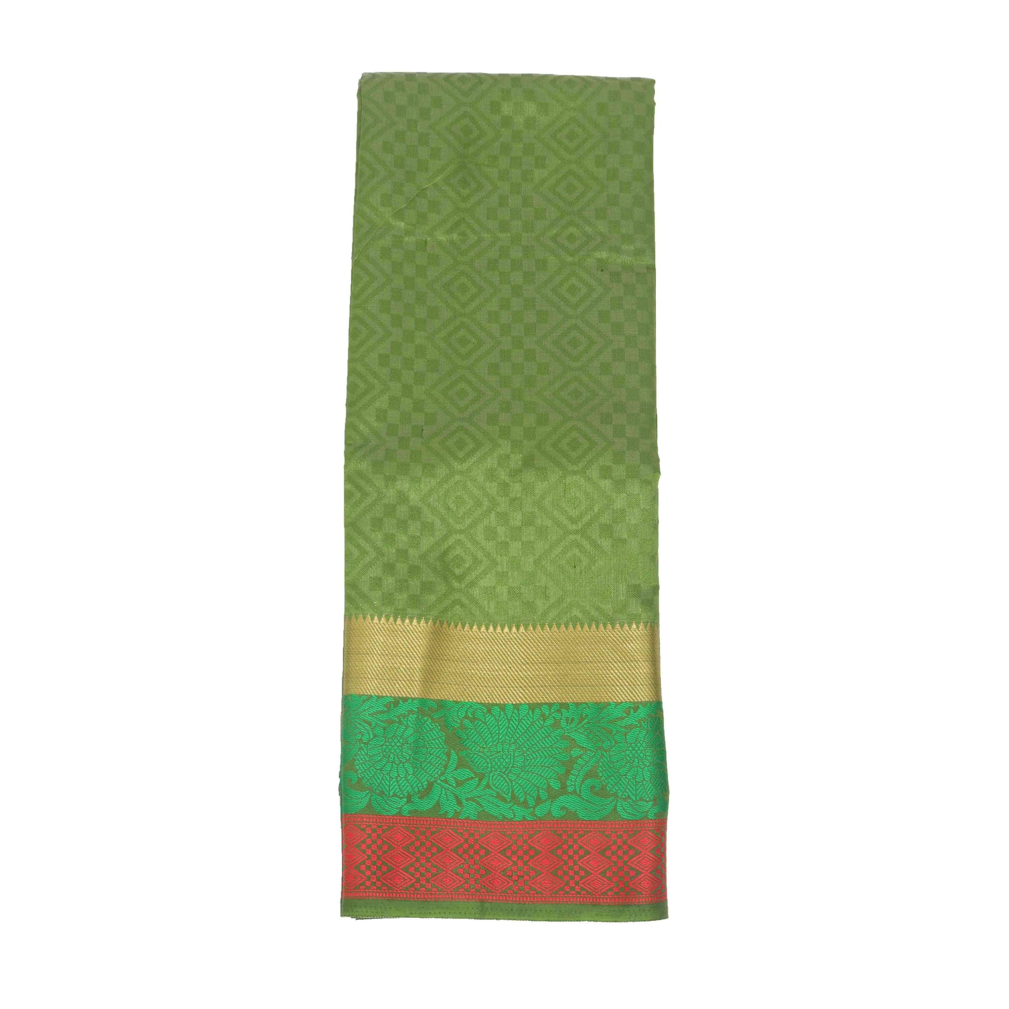 arars Women's Kanchipuram Pattu plain Silk Saree With Blouse (506_olive&olive )