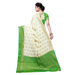 arars Women's Kanchipuram Pattu banarasi Silk Saree With Blouse (510_cream&green )