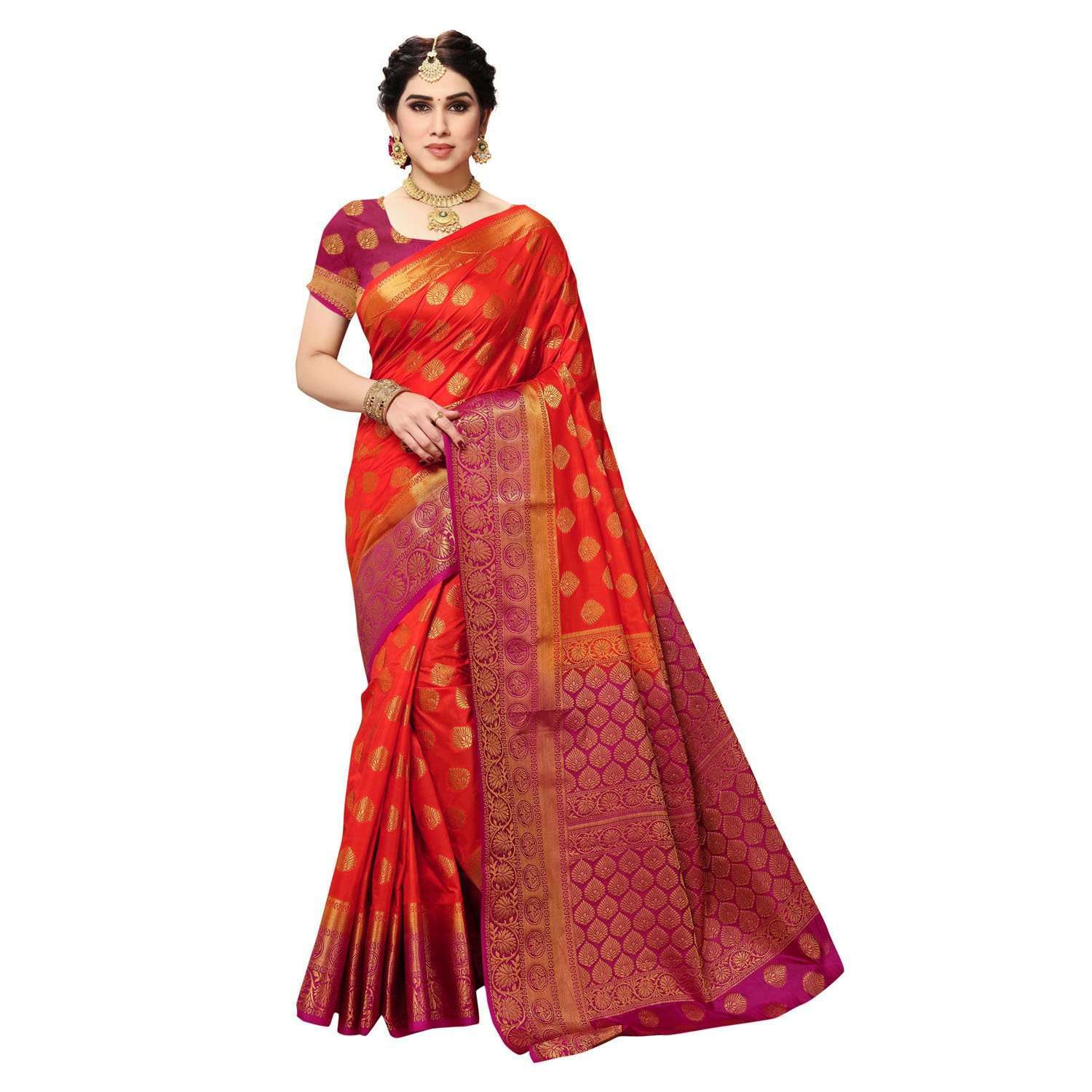 arars Women's Kanchipuram Pattu banarasi Silk Saree With Blouse (510_orange&magentha )