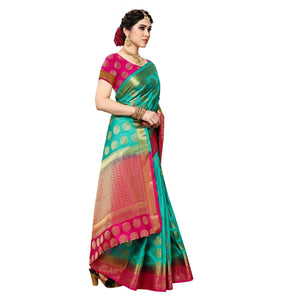 arars Women's Kanchipuram Pattu banarasi Silk Saree With Blouse (510_safair&rani )